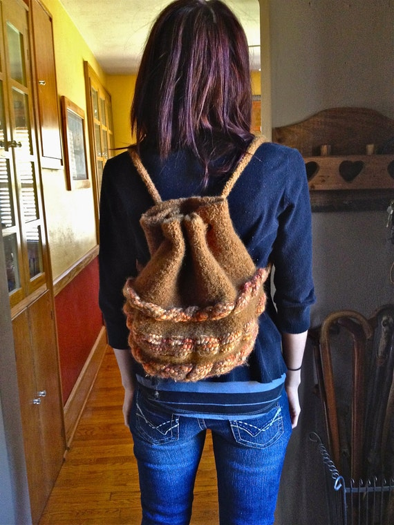 Duffel bag, backpack. knitted, felt heavy duty, bag, knit, cinnamon w/orange accent