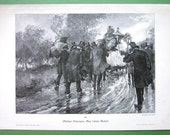 FUNERAL PROCESSION Last Journey Rainy Windy Day   - 1890s Victorian Antique Print