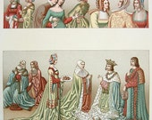 FASHION Costume Women's Dress 15th-16th Century Europe - 1888 COLOR Vintage Antique Print by A. Racinet