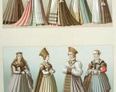 FASHION Women's Costume in Renaissance Germany - 1888 COLOR Vintage Antique Print by A. Racinet