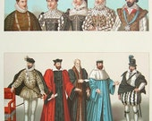 COSTUME Fashion of French Kings, Queens 16th Century - 1888 COLOR Vintage Antique Print by A. Racinet