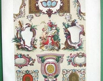 BAROQUE Cartouches Scrollwork Camaieu - COLOR Lithograph Antique Print by A. Racinet