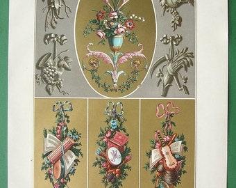 BAROQUE Emblems and Bouquets - COLOR Lithograph Antique Print by A. Racinet