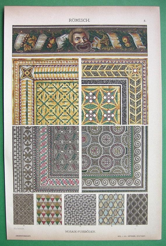 1888 Color Litho Print - Roman Art Mosaics Found at Pompeii Italy