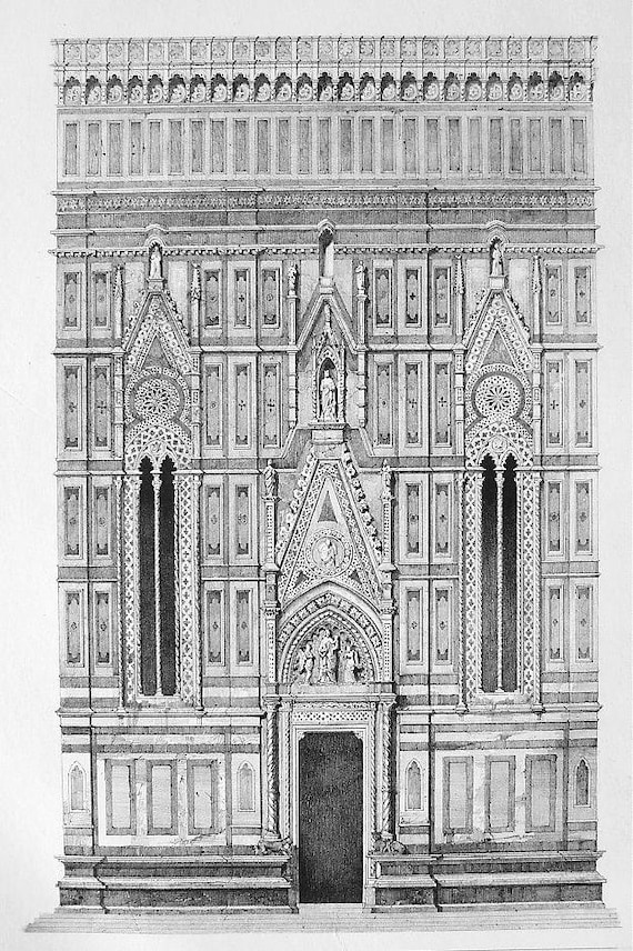 ITALY Cathedral DUomo of Florence Partial Facade View - SUPERB Litho Antique Print