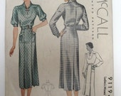 "Vintage McCall 9119 - 1930's - Larger Size 42"" Bust - One Piece Casual Dress with Yoke and Front Pockets"