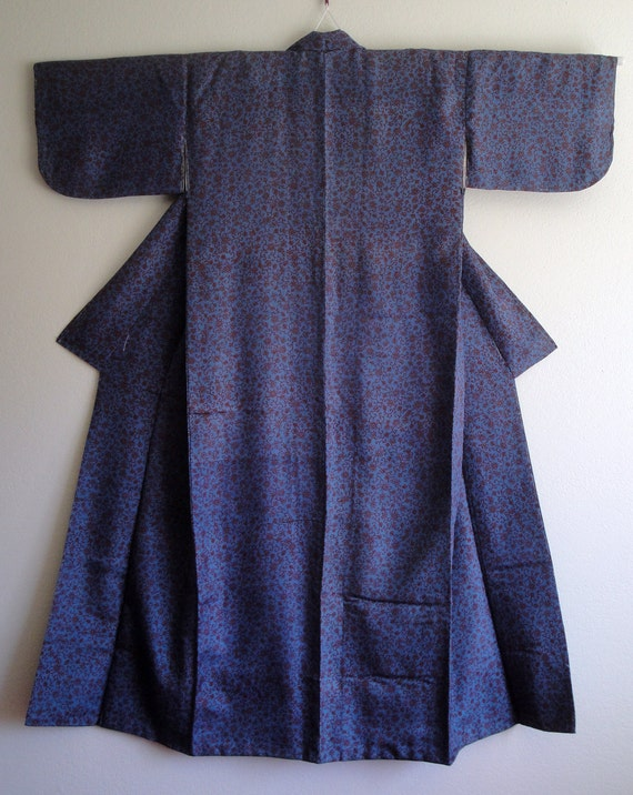 SALE -- Vintage Blue Kimono with Red Arabesque Bamboo Leaves and Sakura Motifs (for fabric only)