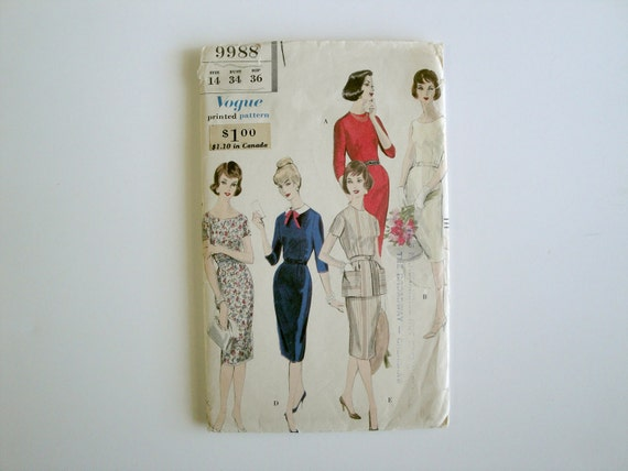 """Vintage Vogue 9988 - 1950's - Size 14 - 34"""" Bust 36"""" Hip  - One Piece Sheath / Wiggle Dress and Tunic"""