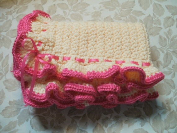 30% Off Special Pink Ruffled Crocheted Baby Blanket