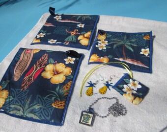 Hand-Made Hot Pad Set in Navy Blue Hawaiian Print