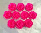 Hot Pink Resin Open Rose Flat Back Cabochons (10)