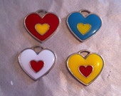 Retro Silver Plated Heart Pendants - Red, Yellow, Blue and White (4)