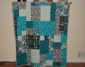 Blue Roses and Zebra Scrap Quilt