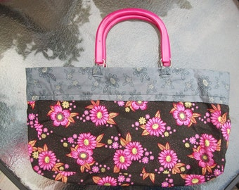 Black with Pink flowers Hand Bag