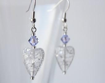 Heart and Lavendar Crystal Earrings