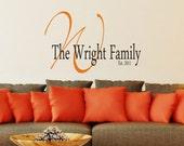 Custom Family Monogram Vinyl Decal - Home Decor Vinyl Wall Art - Vinyl Lettering