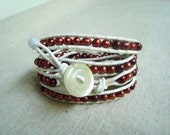 It's A Wrap - White Leather & Maroon Freshwater Pearls Wrap Bracelet with Pearl-like Acrylic Button (MSU colors)