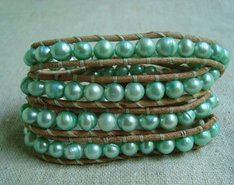 It's A Wrap - Tan Leather & Mint Green Freshwater Pearls Wrap Bracelet with Tortoise Shell Button Closure