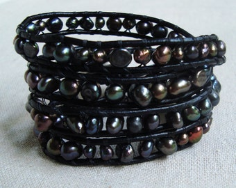 It's A Wrap - Black Leather & Peacock Freshwater Pearls Wrap Bracelet with Vintage Silver Deco Button
