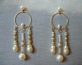 14 Kt.  Gold and Pearl Chandelier Earrings