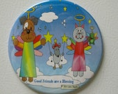 "Cat and Dog Magnet - ""Good Friends are a Blessing"") 3.5"" Magnet - Buy 3, Get 4th FREE"