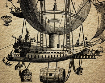 Steampunk Air Balloon Victorian Antique Digital Image Download Transfer To Pillows Tote Bags Tea Towels Burlap No. 0056