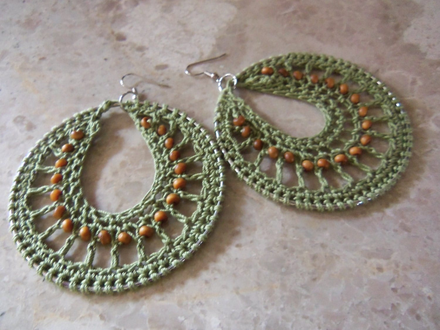 Crochet Earrings : Crochet Hoop Earrings Olive by NaturallyWonderful on Etsy