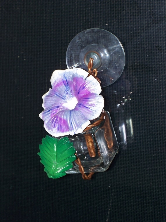 Recycled hand crafted glass hummingbird feeder morning glory flower