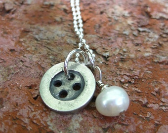 ON SALE! Fine Silver Button Necklace