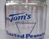 Antique Tom's Roasted Peanuts Canister with Blue Text and Red Knob