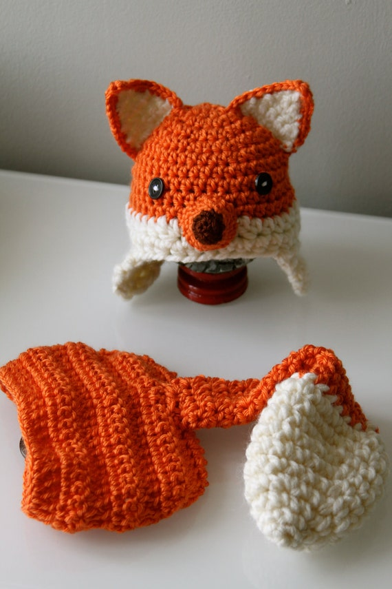 Crochet Fox Hat : Crochet Fox Hat and Diaper Cover PDF Pattern 5 by BlushnBlueProps