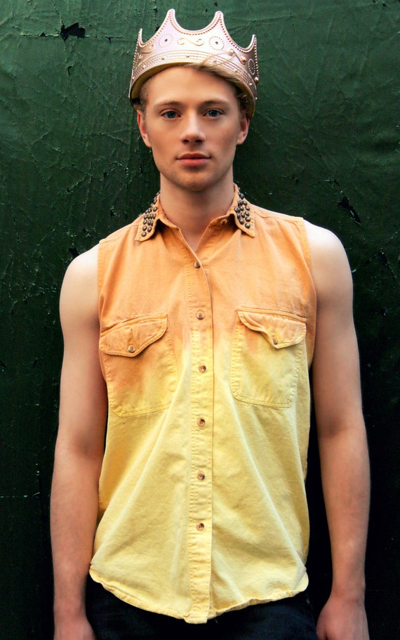 Sleeveless Two Tone Button Up with Studded Collar