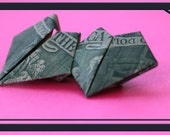 Twin hearts dollar Bill Origami with US 2 Dollar Bill