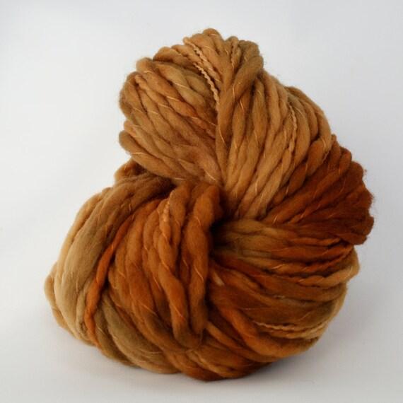 Hand Dyed Thick-n-Thin Merino Wool Yarn - Copper