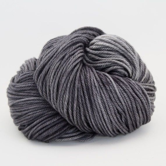 Supernova - Hand Dyed Superwash Merino Wool Worsted Yarn - Colorway: Charcoal