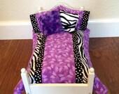 "7 Piece Bedding Set Lot For American Girl Or 18"" Doll- Handmade-Zebra Purple Butterfly"