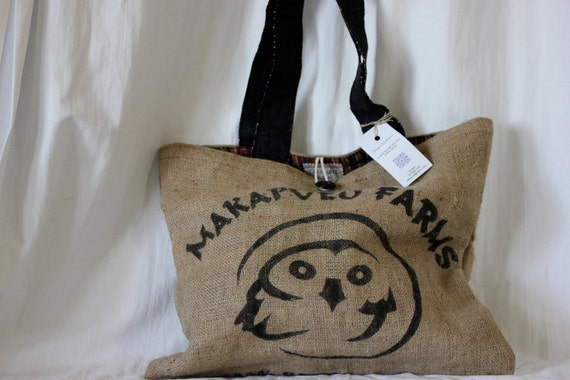 SALE :) Tote made from a burlap coffee bag