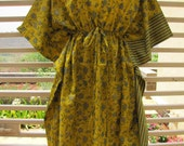 Bright brownish green kaftan with blue design - perfect as a getting ready dress for bridesmaids, beach cover-up