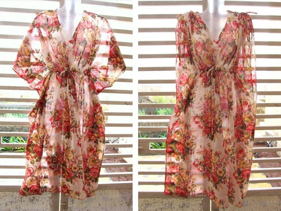 Convertible Kaftan - white with bouquets of pink and red flowers - wear it loose for flowy look or roll up sleeves for slender look