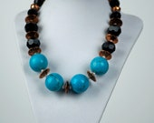 Turquoise Howlite and Copper necklace and earring set