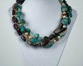 Triple Strand turquoise and jasper necklace and earring set