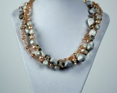 Triple strand marble and pearl necklace and earring set
