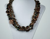 Triple Strand green opal and copper necklace and earring set