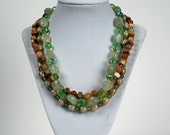 Triple Strand Jade and Jasper necklace and earring set