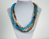 Triple Strand ceramic and shell necklace and earring set
