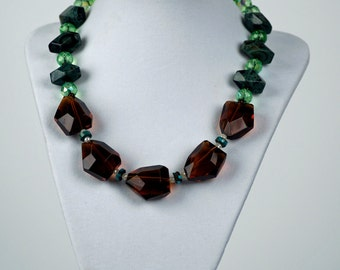 Amber Crystal necklace and earring set
