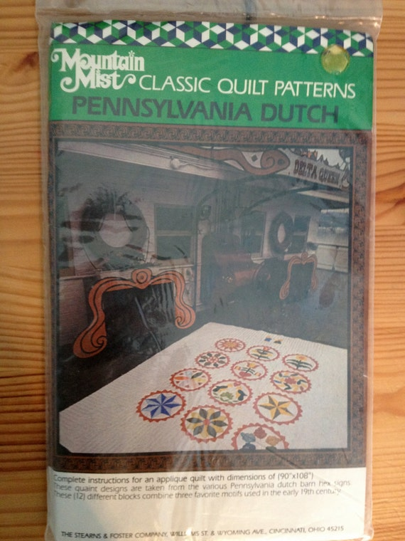 Pennsylvania Dutch Quilt Pattern - Applique design of dutch barn hex signs - NEVER USED