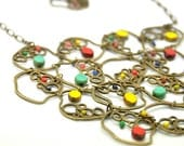 a beautiful necklace made with colorful delights, multicolor czech glass Picasso beads and czech crystals