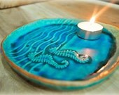 a unique Sea horse turquoise blue plate, dinner plate, cake plate, cookie plate, little seahorse cute, turquoise blue plate