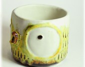 Big Eye Owl Ceramic Teacup, Handmade Ceramic Teacup, Little Yellow Owl Teacup